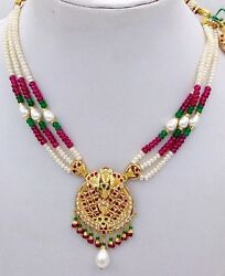 Handmade 22 K Yellow Gold Necklace Pendant Studded With Pearl Emerald Ruby Women