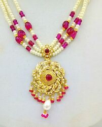 Beautiful Flower Design Pendent Set 22 K Gold With Pearl Ruby Emerald For Women