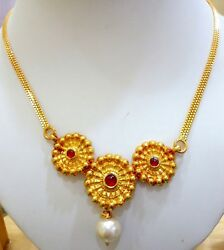 22k Antique Vintage Tribal Gold Pendant Set Necklace And Earring Tribal Jewelry