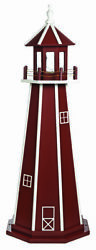 Amish Made Wood Garden Lighthouse Standard - Cherrywood And White - Size Options