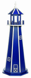 Amish Made Wooden Outdoor Garden Lighthouse - Standard - Patriot Blue And White