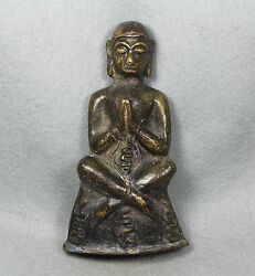 6 Antique Phra Ngang Khmer Statue Old Brass Thai Buddha Amulet Love Charm Sex