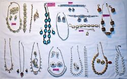 Vtg Costume Jewelry Lot Brooches, Earrings, Necklaces, Bracelets