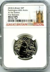 2018 Great Britain 50p Ngc Ms67 Dpl Paddington At The Station First Releases