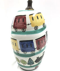 Vintage Hand Painted Table Lamp Treno Trains Signed Numbered Raymor Bitossi