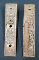 Pair Of Vintage Eastlake Victorian Style Cast Iron Large Door Pulls And Plates