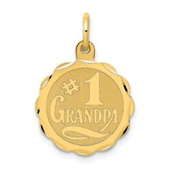 14k Yellow Gold #1 Grandpa Disc Pendant Charm Necklace Mothers Day Gifts