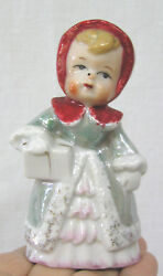 Vintage Christmas Luster Shopper Girl Bell W Red Hood Woolworth Sticker 37 Cents
