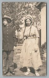 Boy And Girl Dressing Up As Army Office And Indian Rppc Costume Native American 10s
