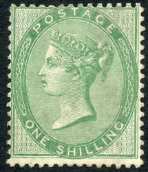 1856 1/- Pale Green Wmk Emblems Unused O.g. On Thick Paper. S.g.73b