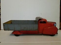 Marx Dump Truck Large 22 X 8 1/2 Lumar Construction Vintage Pressed Steel Toy