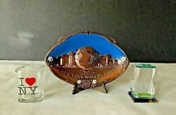 Lot 3 Vintage New York Fair Plaque Crystal Paper Weight And Shot Glass Souvenirs