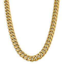 14k Yellow Gold 15mm Miami Cuban Chain Necklace 24 Inch Mothers Day Gifts