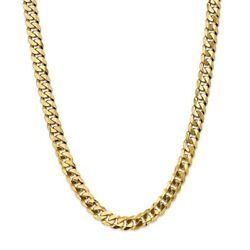 14k Yellow Gold 9.5mm Beveled Link Curb Necklace Chain Mothers Day Gifts