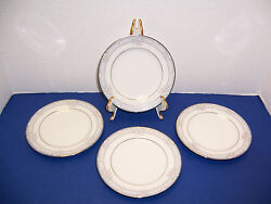 """Noritake 3883 Lancashire 4 Bread And Butter Plates 6 3/8"""" Blue And Pink Roses"""