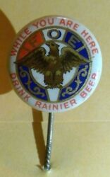 C. 1900 Drink Rainier Beer Foe Pin Seattle Brewing And Malting Co. Hat Eagles