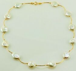 Authentic 22k Yellow Gold Handmade Necklace Chain Natural Coin Pearl Jewelry