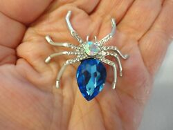Jelly Belly Crystal & Big Blue Rhinestone SPIDER PinBrooch Silver Plated  #121