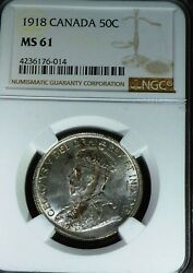 1918 Canada 50 Fifty Cents , Ngc Certified Ms61 -uncirculated Low Mintage