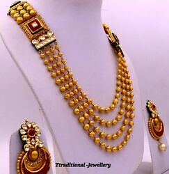 UNIQUE DESIGN HANDMADE FOUR LINE NECKLACE WEDDING BOLLYWOOD STYLE JEWELRY UNIESX