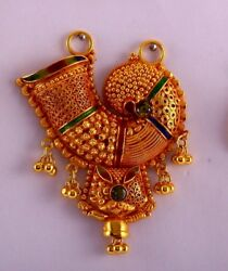 Antique Design 22k Yellow Gold Pendant Necklace Handmade Gold Jewelry 03