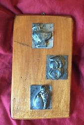 Antique Tin Candy Molds 3 Pieces On Wood Easter One-sided Wall Hanging Chicken