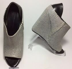 Alexander Wang 715 Alla Leather Wedges Size 38 Fits Sz 7 Black And White