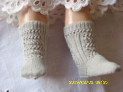 Antique Pattern Light Grey Color Cotton Socks For Antique French German Doll