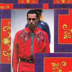 Gianni Versace Red Cotton Embroidered And Beaded Men's Shirt Size 52 From Ss 1991