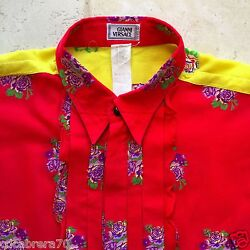 Gianni Versace Cotton Men's Shirt With Embroidered Flowers And Ruffles Size It 52