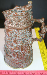 Unusual Antique Electroform Copper Repousse Tankard Beer Stein 1850s