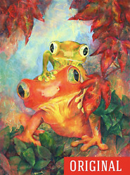 ORIGINAL BROTHERS PAINTING FROGs DISNEY DECOR ARTIST FALL NATURE ART FAMILY LOVE
