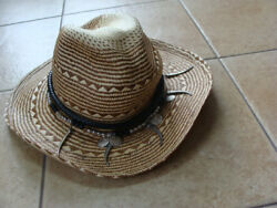 Wicker Cowboy Western Hat Decorated W/ Francaise Republique Coins Beads Teeth L