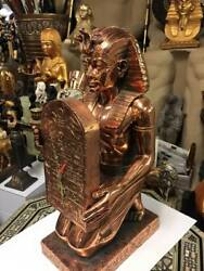 Unique Large Hand Made King Tut Clock Copper Wash Made In Egypt One Of The Kind