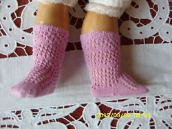 Antique Pattern Socks Pink Color For Antique French German Doll