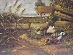 Edith Hume England1843-1906 Restored Original Oil Painting Ducks C.1880and039s