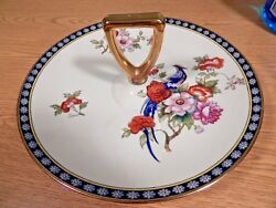 Vintage Noritake Serving Plate With Center Handle And Bird Design 35723
