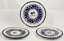 Antique/vntg Ceramic Plates/dishes Mexico Hand Painted Folk Art Collectible