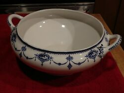 Antique Furnivals Limited England Jewel Pattern Handled Tureen Blue And White