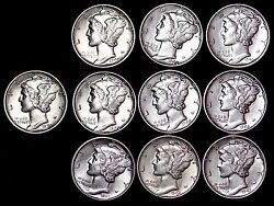 Lot Of 50 Coins Au / Unc Mercury Silver Dimes Some D And S Mint Free Shipping