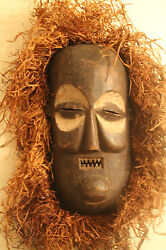 Arts Of Africa - Kakungu Mask W Raffia - Bandundu Congo - 18 Height X 9 Wide