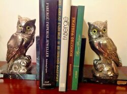 Wonderful Silver Pair Of Owls Book Ends On Marble Base Signed Msv