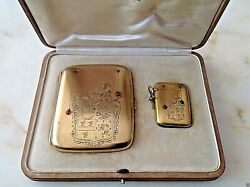 Antique End Xix C. Sterling Silver Rubies Cigarette And Matches Case Original Box