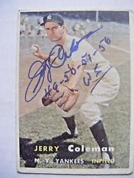 Jerry Coleman Signed Ny Yankees 1957 Topps Baseball Card Wsc 1949 1950 1951 1956