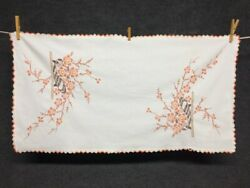 Vintage Flower Basket Hand Embroidered Cotton Table Topper Runner 31quot; x 16quot;