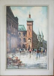 Marcel Signed Mid Century Oil Painting on Board French Street Scene