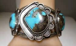 Unsigned Old Pawn Persian Turquoise Cabochon Bracelet Navajo Sterling Silver