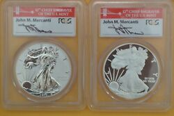 2012-s Silver Eagle 75th Ann Set 2 Coin Set Pcgs Pr69 And Reverse Proof Mercanti