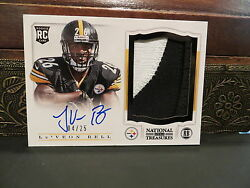 National Treasures Autograph Rookie Jersey Steelers Leand039veon Bell 04/25 2013