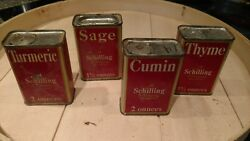 Vintage A Schilling And Company San Francisco Spice Tins Turmeric Sage Thyme Cumin